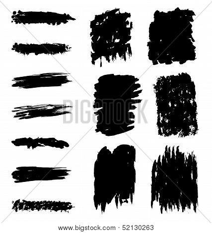 Black marks and brushstrokes