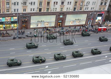 MOSCOW - MAY 3: Top view of the cars GAZ-2330 Tiger at the rehearsal of Victory Day parade on Tverskaya street on May 3, 2013, Moscow, Russia.