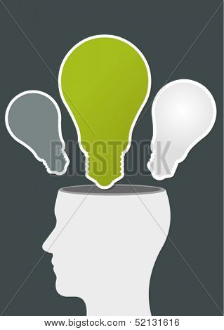 Green template of a human head with light bulb ideas