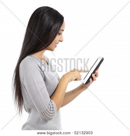 Profile Of A Beautiful Woman Browsing Network Media In A Tablet
