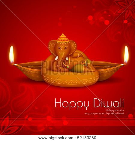 illustration of Ganesha with diya on Diwali Holiday background