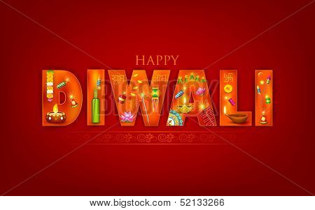 illustration of Diwali background with puja object