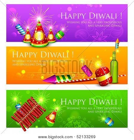 illustration of Diwali banner with colorful firecracker