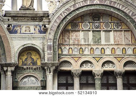 Part Of Facade Of San Marco Cathedral, Venice, Italy