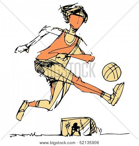 An image of a soccer player kicking the ball with goalie in background.