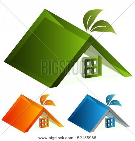 An image of a 3d energy green house icon.