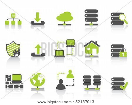 Green Network Server Hosting Icons
