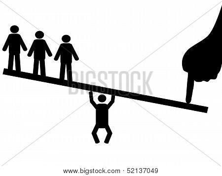 People Balance On Seesaw