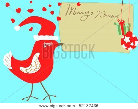 Christmas Bird Carrying Xmas Card
