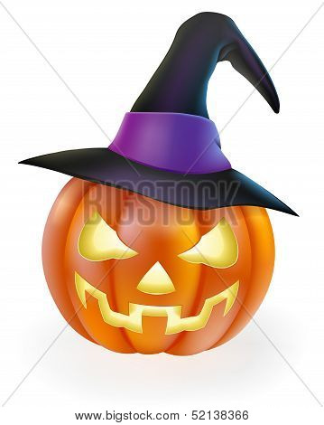 Halloween Pumpkin In Witch Hat