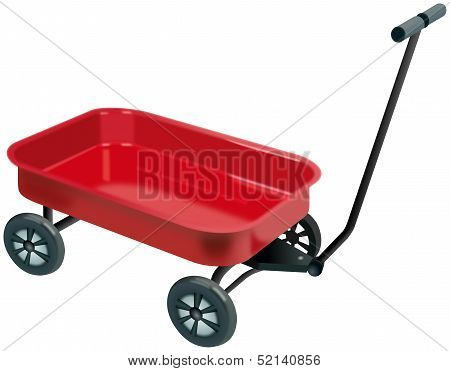Small red four wheels handcart