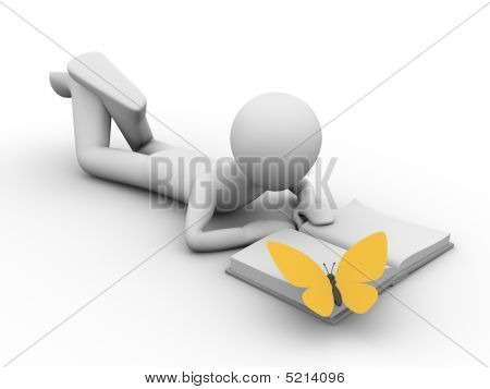 Vacation: Man Lying And Reading A Book With A Butterfly On It