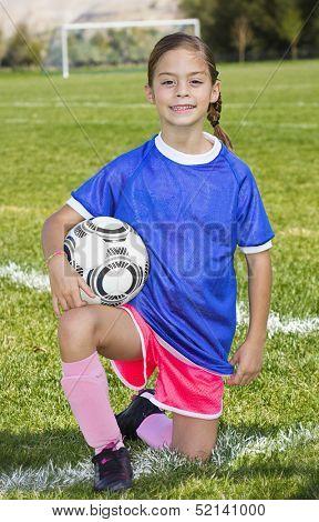 Cute little Soccer player portrait (girl)