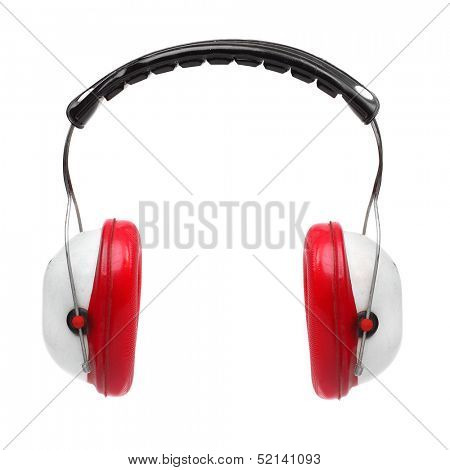 Red earmuffs on a white background.