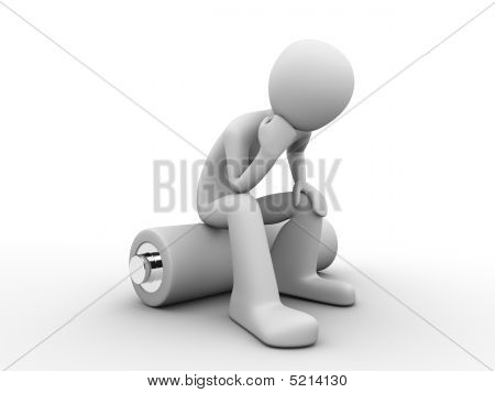Power, Energy, Ecology: Man Sitting On A Battery Thinking