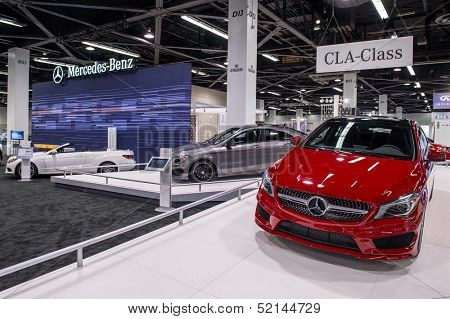 ANAHEIM, CA - OCTOBER 3: Mercedes CLA class automobiles on display at the Orange County International Auto Show in Anaheim, CA on October 3, 2013.