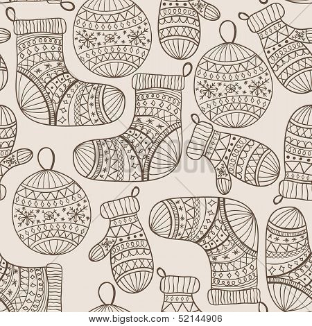 Vector Seamless Winter Christmas Pattern