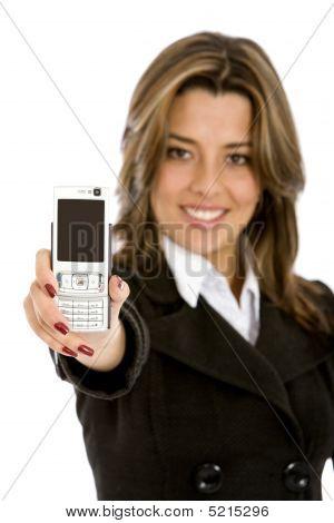 geschäftsfrau mit einem Telefon