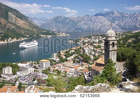 Kotor Bay and bell tower of Our Lady of Salvation, Montenegro
