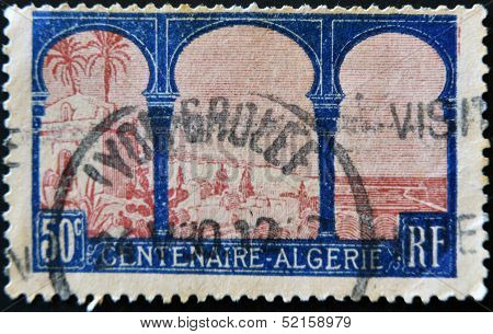A stamp printed in France commemorates the centenary of the French presence in Algeria
