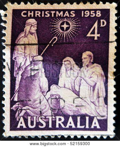 Australia - Circa 1958 : A  Stamp Printed In Australia Shows Birth Of Jesus Christ, Circa 1958