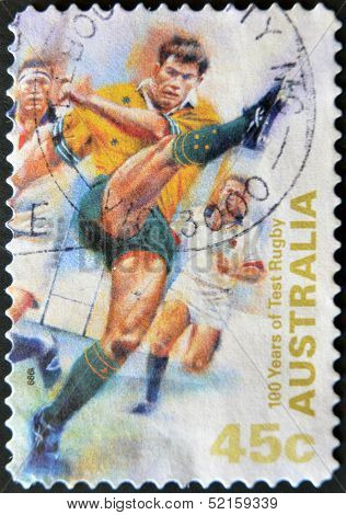 Australia - Circa 1999: A Stamp Printed In Australia Shows 100 Years Of Test Rugby, Circa 1999