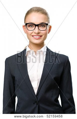 Half-length portrait of business woman wearing glasses, isolated on white background. Concept of leadership and success