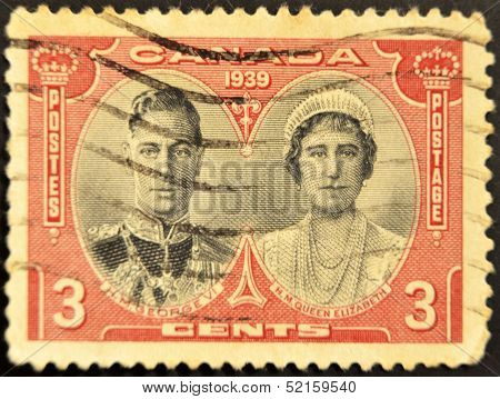 Canada - Circa 1939: A Stamp Printed In Canada  Showing An Image Of George VI With Queen Elizabeth
