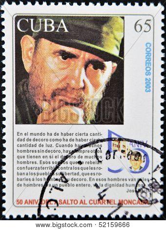 Cuba - Circa 2003: A Stamp Printed In Cuba Shows Fidel Castro, Circa 2003