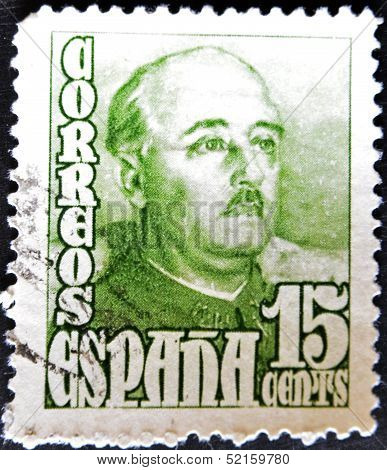 Spain - Circa 1947: Stamp Printed By Spain, Shows Francisco Franco, Circa 1947