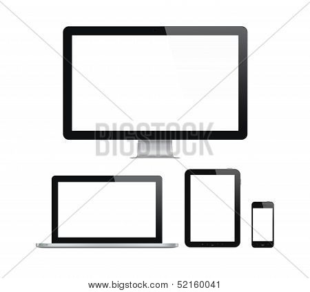 Modern Computer And Mobile Devices Set poster