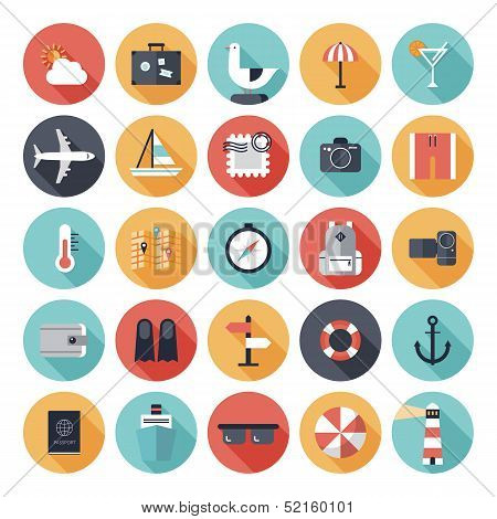 Travel And Vacation Flat Icons Set poster