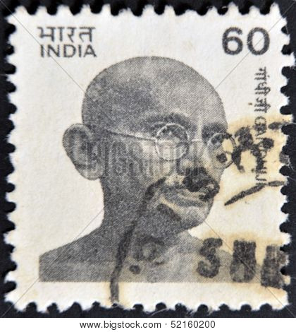 India - Circa 1976 : Postage Stamp Printed In India Showing Mohandas Karamchand Gandhi, Circa 1976