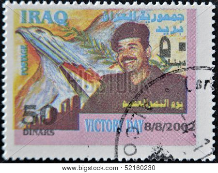 Iraq - Circa 2002: A Stamp Printed In Iraq Shows Saddam Hussein, Circa 2002