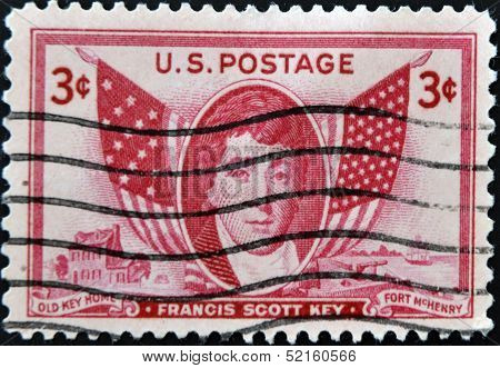 United States Of America- Circa 1948: Stamp Printed By Usa, Shows Francis Scott Key, Circa 1948