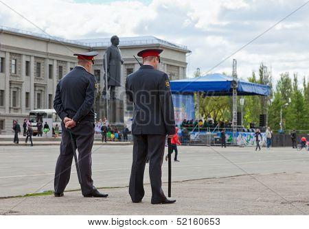Samara, Russia - May 1: Russian Police At The Central Square On May 1, 2012 In Samara, Russia. Samar