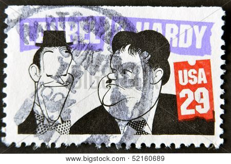 A stamp printed in USa shows the famous movie comedy duo of Stan Laurel and Oliver Hardy