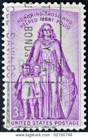 A stamp printed in the USA shows Honoring Those who helped fight polio