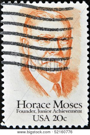United States Of America - Circa 1984: A Stamp Printed In Usa Shows Horace Moses, Circa 1984