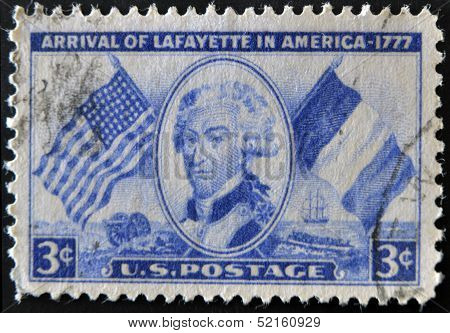 A stamp printed in USA shows arrival of Lafayette in America - 1777