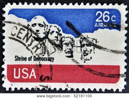 stamp printed in USA shows image of the Mount Rushmore National Memorial