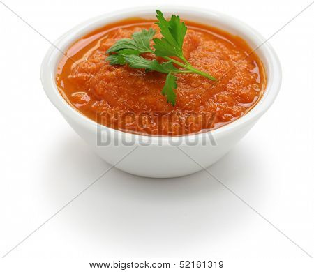 salsa roja dip in bowl isolated on white background