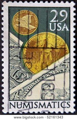 United States Of America - Circa 1958: A Stamp Printed In Usa Dedicated To Numismatics, Circa 1958