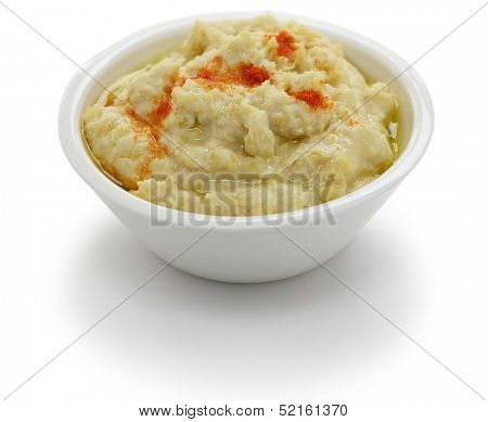 hummus dip in bowl isolated on white background