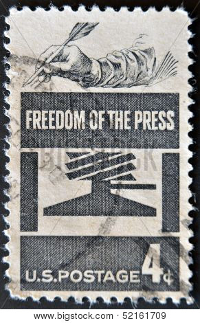 United States - Circa 1958: Stamp Printed In Usa Dedicated To Freedom Of The Press, Circa 1958