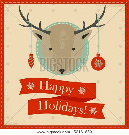 Christmas greeting banner with Deer