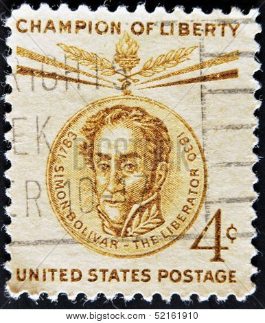 A stamp printed in the USA shows Bust of Simon Bolivar on Medal Champion of Liberty