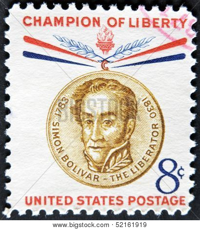 United States - Circa 1958: Stamp Printed By United States, Shows Champion Of Liberty, Simon Bolivar