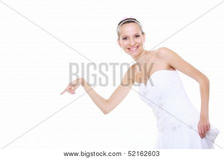 Woman In Wedding Dress Choosing Picking Up Isolated