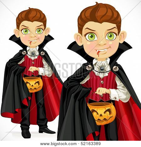Boy dressed as a vampire with a basket for sweets
